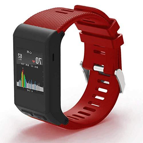 METEQI Correa de Reloj Compatible con Garmin Vivoactive HR, Banda de Reloj de Silicona Suave para Garmin Vivoactive HR Sports GPS Smart Watch (Rojo)