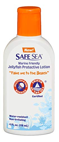 Safe Sea Anti Jellyfish Sting Lotion, Non Toxic Environmentally Friendly High Water Resistant- Jellyfish & Sea Lice LOTION with No SPF For Kids and Adults. (4oz Bottle, Single Pack)