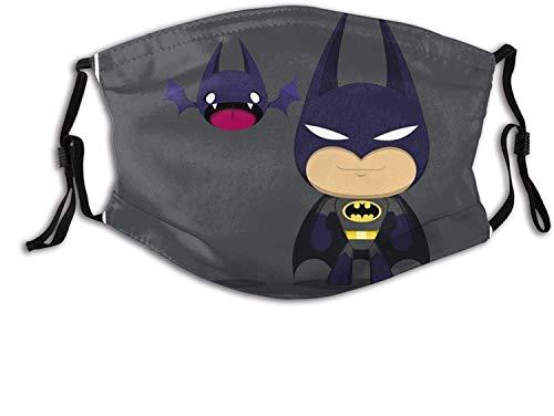 Bandanas negras de Batman superhéroe para adultos, unisex, lavables y reutilizables, con filtro, pendientes elásticos ajustables para deportes al aire libre y ocasiones interiores