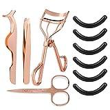 Comius Sharp Juego de Rizador de Pestañas Cejas Tijeras Pinzas Cejas Conjunto de 5 Piezas con Almohadillas de Repuesto de Silicona y Herramienta Auxiliar de Pestañas Falsas (oro rosa)