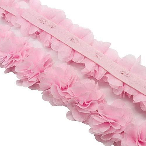 1 Yard 10 colori fiore 3D 5 cm chiffon pizzo Trim nastro tessuto per applique cucito abito da sposa decorazione accessori V0101, C5 rosa