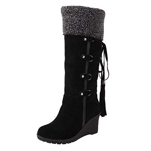 Logobeing Botines Mujer Planos Tacon Zapatos de Mujer Después de Lijar con Borlas Botas Altas Mangas Cuñas Botas de Nieve Zapatos de Plataforma(37,Negro)