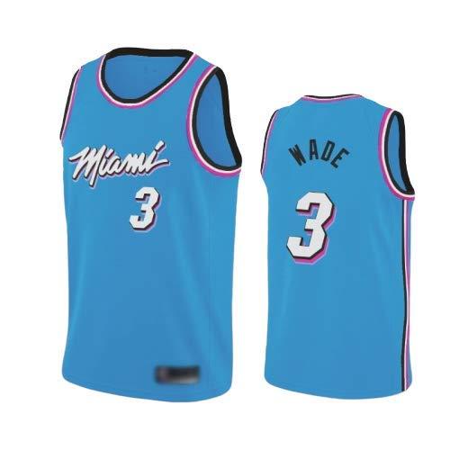 WOLFIRE WF Camiseta de Baloncesto para Hombre, NBA, Miami Heat #3 Dwyane Wade. Bordado, Transpirable y Resistente al Desgaste Camiseta para Fan (Celeste, L)