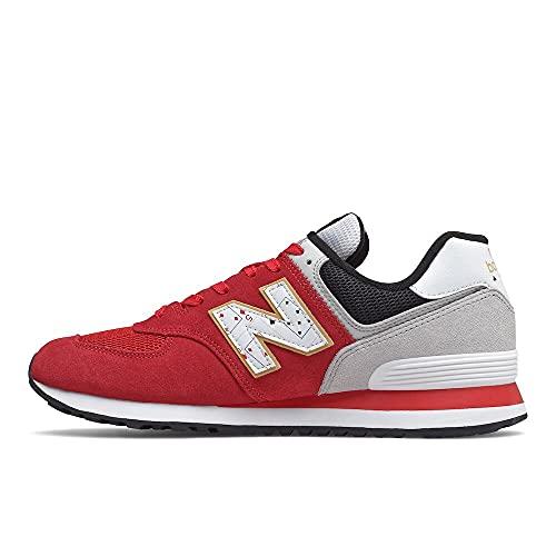 New Balance Men's 574 V2 Full Family Sneaker, Red/Summer Fog, 9