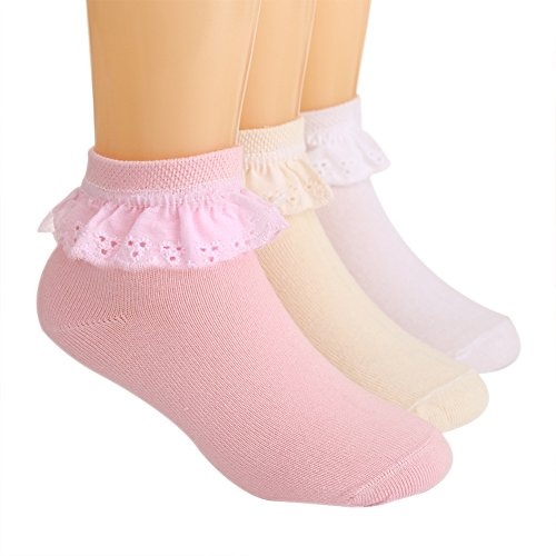 LOSORN ZPY Toddler Baby Girls Lace Socks Pack of 3 Cotton Bobby Socks, 0-2T, pink+white+yellow