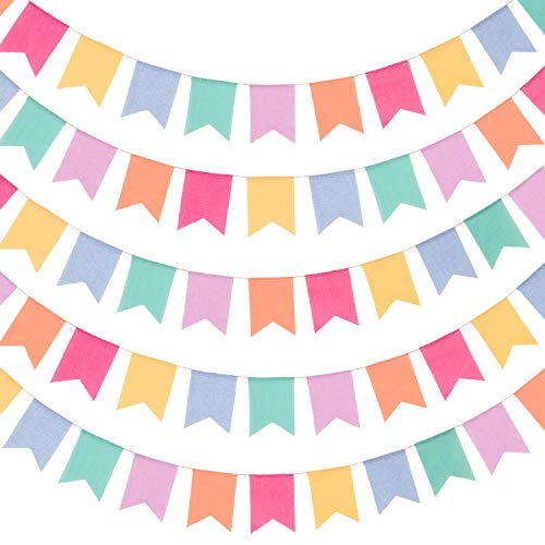 Whaline Imitated Burlap Bunting Banner 40ft Multicolor Bunting Flags 42 Flags Imitation Linen Flag Garland Hanging Party Favors Supplies Vintage Style Decoration for Rustic Wedding Birthday Parties
