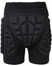 Tentock Adultos Pantalones Cortos de Compresión con Protectores Acolchados 3D, para Esquí Patinaje, Tamaño Completo