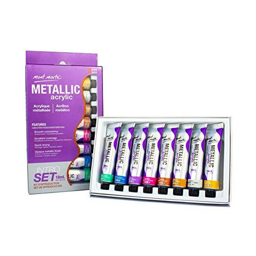 MONT MARTE Pintura Acrilica - Metálica - 8 piezas, 18 ml tubos - Ideal para pintura acrílica - Colores brillantes y resistentes a la luz con gran opacidad - Ideal para Principiantes y Artistas