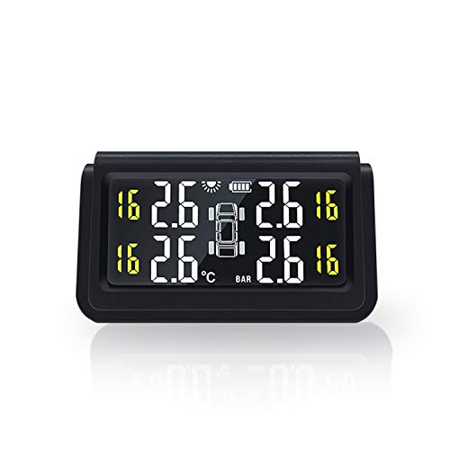 タイヤ空気圧監視システム リアルタイムタイヤ空気圧監視 タイヤ気圧温度測定 即時空気圧監視 太陽エネルギー USBダブル充電 4外部センサー