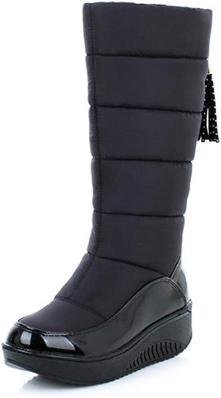 Women's Fur Waterproof Frosty Fringe Winter Warm Mid-Calf Slip-On Platform Snow Boot