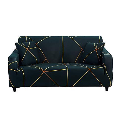 HOTNIU Elastischer Sesselbezug Stretch Sofa-Überwürfe Sofaüberzug Sesselhusse Sofabezug Sofa Abdeckung Hussen für Couch Sessel in Verschiedene Größe und Farbe (2 Sitzer, Pattern LGYC)