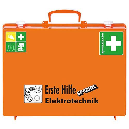 SÖHNGEN 0360113 Erste-Hilfe-Koffer Spezial Elektrotechnik, mit Wandhalterung, orange, DIN 13157 aus Kunststoff, mit PRÜFPLAKETTE