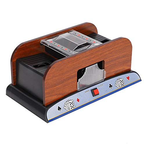 Card Shuffler, Quiet Operation Electric Automatic Wooden Playing Card Deck Shuffler, Battery Operated Household Poker Card Shuffler Machine for The Elderly