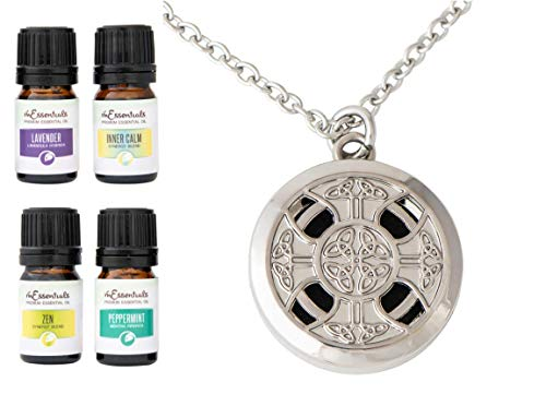 Wild Essentials Celtic Cross Essential Oil Diffuser Necklace Gift Set - Includes Aromatherapy Pendant, 24' Stainless Steel Chain, Pads and 100% Pure Oils (Lavender, Peppermint, Inner Calm and Zen)