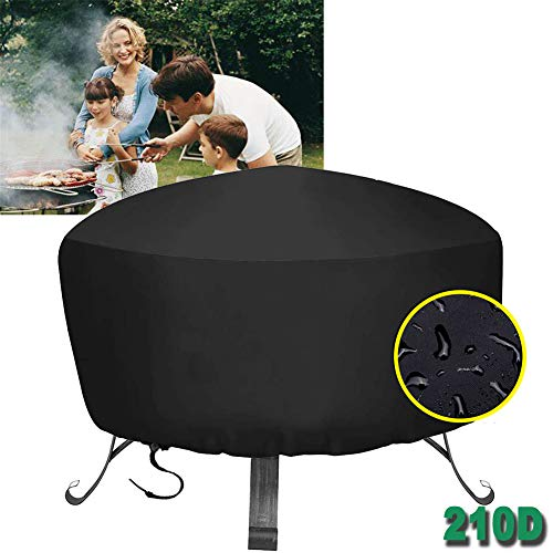 HHMH Barbecue Cover Round, BBQ Cover Waterproof 210D Oxford Dust-Proof Anti-UV Grill Cover Outdoor Garden Barbecue Cover with Drawstring Cord, Burner Grill Covers -Black,48x18 in
