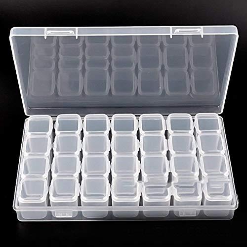 Gema Organizador, Claro del grano de contenedores 28 compartimentos con tapas seguras, joyería Tiny extraíble caja de almacenaje, organizador de la joyería transparente de Semillas Craft Haciendo Acce