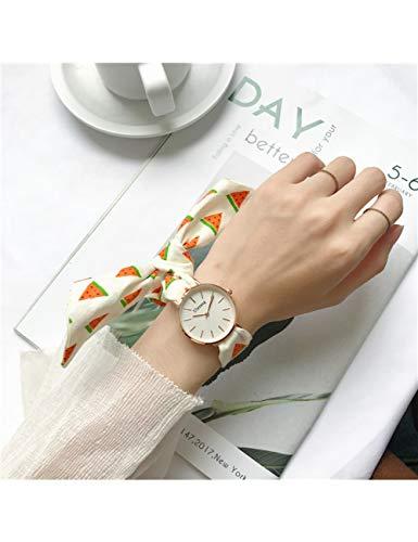 MARRY Reloj De Mujer Diseñador De Relojes Casuales A Cuadros Y Sandía Vendaje Mujer Moda, Blanco A Cuadros