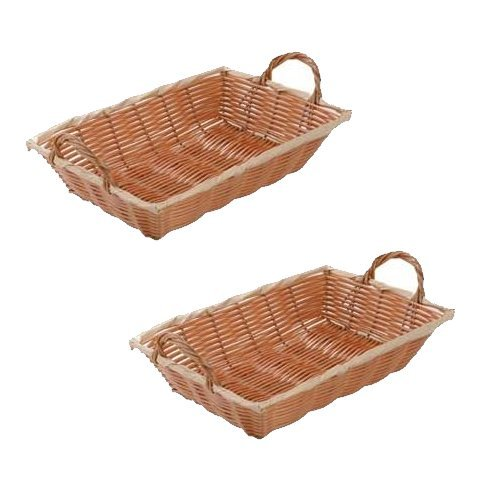 W & P Trading Co. SET OF 2-12-Inch Commercial Grade Durable Plastic Woven Food Serving Storage Basket Baskets, Oblang Shape, w/Serving Handles