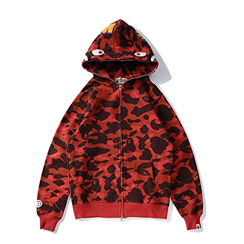 JiaFang Sudadera con Capucha para Hombre Chaqueta con Capucha de tiburón Harajuku Informal para Mujer Chaqueta con Capucha de Camuflaje de Moda Ropa de Calle Hip Hop-Rojo, XXL