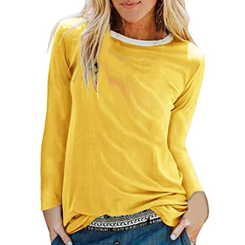 Damen Sommer Herbst T-Shirt O-Ausschnitt Lange Ärmel Hemd Lose Beiläufige Frauen Sexy Gradient Bedruckt Stretch Jahrgang Weste Yoga Solide Baumwolle Polyester Sweatshirt Bluse Top (EU:34, Gelb)