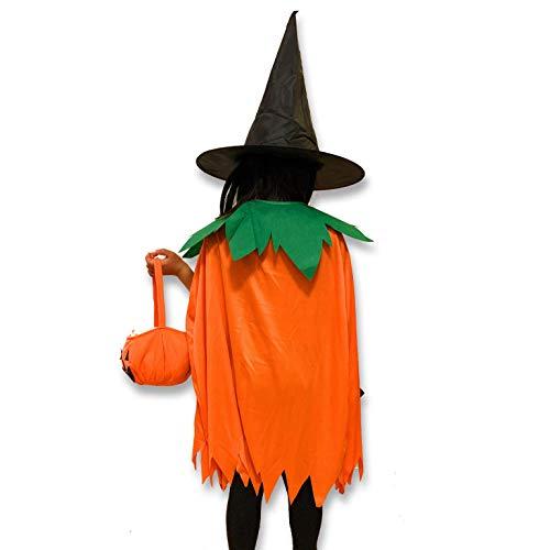 Caprilite Set de 3 Gorras de Halloween para niños, Disfraz de Calabaza o Bolsa de golosinas, Capa de Sombrero de Bruja