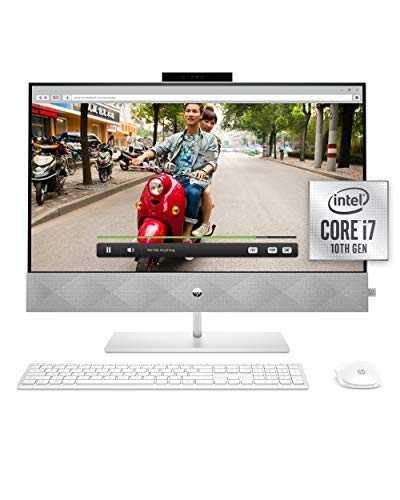 HP 27 Pavilion All-in-One PC, 10th Gen Intel i7-10700T Processor, 16 GB RAM, Dual Storage 512 GB SSD and 1TB HDD, Full HD IPS 27 Inch Touchscreen, Windows 10 Home, Keyboard and Mouse (27-d0072, 2020)