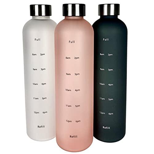 Life & Passion Auslaufsichere Trinkflasche 1l, Zeitmarkierungen, BPA-freies Tritan, kohlensäure geeignet, Wasserflasche für Sport, Büro, Yoga