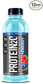 Protein2o + Energy, Low Calorie Protein Infused Water, 15g Whey Protein Isolate, Blueberry Raspberry. 16.9 Oz, Pack of 12