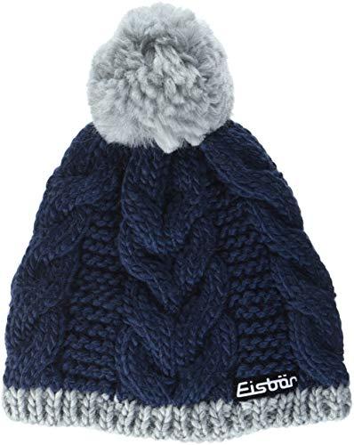 Eisbär Kinder Kiana Pompon Mütze, hellgraumelange/Dark Cobalt, 55