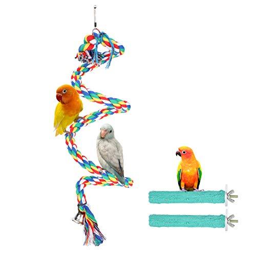 Soporte de juego para loros Juguete para perca Cuerda para masticar pájaros coloridos Cuerda en espiral para mascotas Percha Ejercicio de entrenamiento para masticar loros Suministros para juguetes de