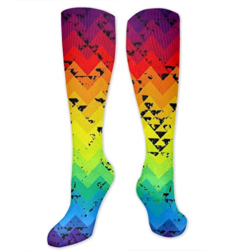 YudoHong Colorful Psychedelic Art Visual Geometric Diagram Women Recovery High Boot Socks, Compression Socks for Athletic Hiking Nurse