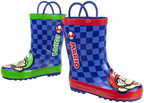 Super Mario Brothers Mario and Luigi Rain Boot for Kids, Nintendo, 100% Rubber, Waterproof, Ages 2 to 10 (Big Kid 13/1, Blue)
