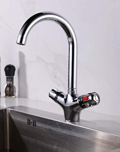 Grifos para lavamanos Grifos para baño El Grifo termostático Superior El Grifo de la Cocina Mezclador de Agua fría y Caliente Nariz Corta Grifo Doble para Lavabo con Acabado Cromado