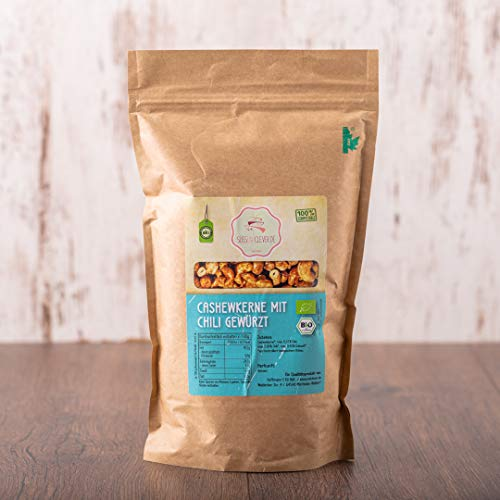süssundclever.de® Bio Cashewkerne | geröstet & gesalzen | mit Chili | 1 kg | ganze Kerne | plastikfrei und ökologisch-nachhaltig abgepackt