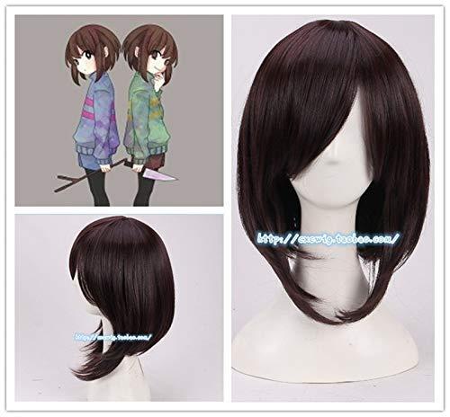 Junww Game Undertale Cosplay Frisk Cosplay Wig Women Game Role Play Frisk Dark Brown Hair Wig Costumes+ Wig Cap