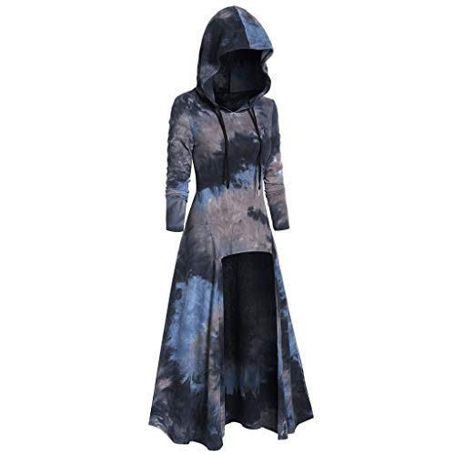 Photo of HOTSELL〔☀ㄥ☀〕Women Midi Swing Dress Hooded Halloween Christmas Renaissace Gothic Lace-Up Asymmetric Slim Steampunk Vintage Cocktail Uniform Cloak Tie Dyeing Dresses With a Skull Mask