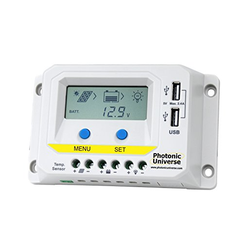 Fit4Less 40A Solar Charge Controller 12V//24V Solar Panel Battery Intelligent Regulator with LCD Display and USB Port Temperature