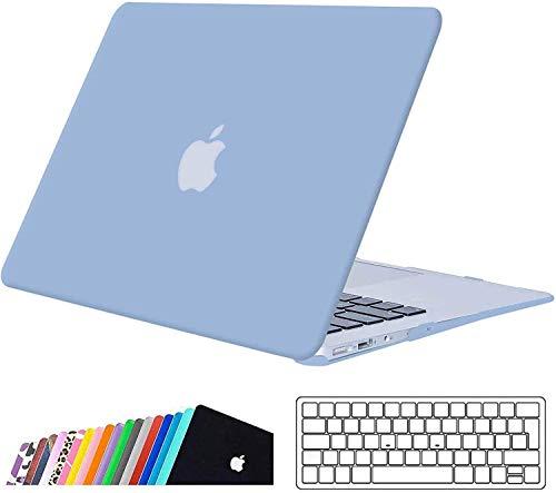 iNeseon Coque MacBook Air 13 Pouces (A1466 A1369), Mince Housse Rigide Étui + Couverture de Clavier pour 2010-2017 MacBook Air 13 Pouces (32,5 x 22,7 cm), Bleu Ciel