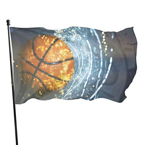 Bandera al aire libre de 3 x 5 pies de baloncesto 3d con luz de galaxia a prueba de sol resistente a la decoloración para el hogar jardín banderas decorativas con ojales para desfiles patios fiestas
