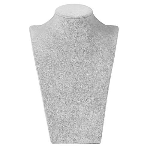 SDENSHI Terciopelo Gris 3D Collar Colgante Exhibición de Joyas Busto Soporte de Maniquí - W 235 x H 390mm