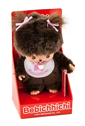 Sekiguchi 235550-Original niña Bebichhichi, de Felpa, Babero y coletas con Lazos, Aprox. 15 cm, Color marrón (235550)