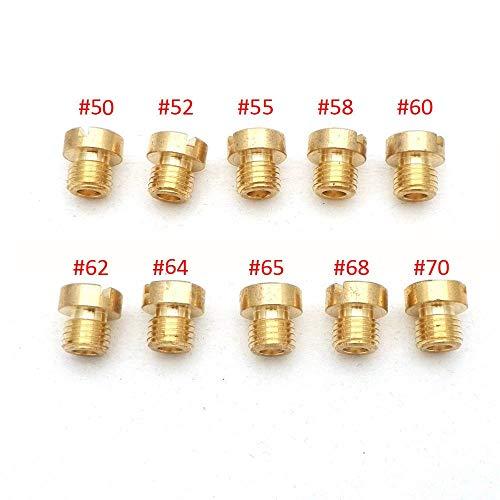 Dafengchui Pack de 10pcs Carburador Chiclé M6 M5 Tema 6 mm 5 mm for tamaño DellOrto BGM Motoforce carburador inyector del inyector 50-200 (Color : 50 70 (M6))