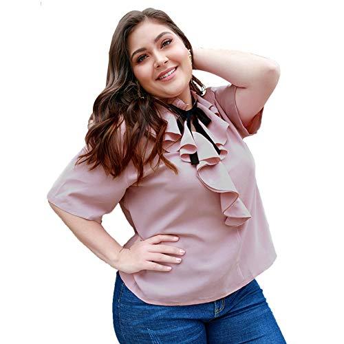 LHQ-HQ Camiseta de Manga Corta de Talla Grande con Cuello con Volantes, Camiseta Rosa,2XL