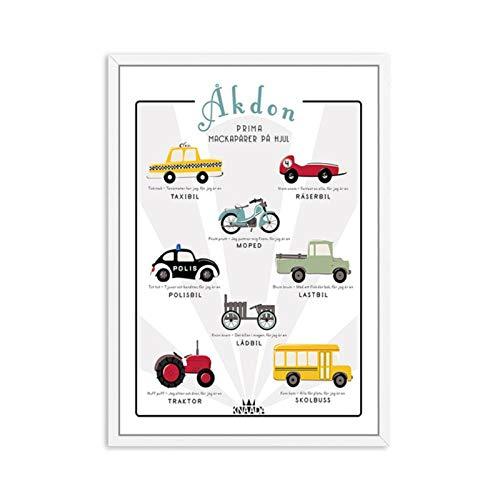 FUXUERUI Cartoon Vehicle Car Scooter Nursery Canvas Painting Posters and Prints Art Wall Pictures Habitación de los niños Dormitorio Decoración del hogar/40x50cm sin marco