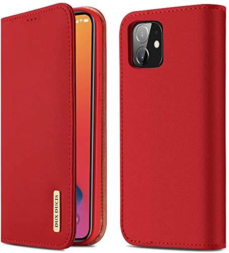 WLoyalty Funda tipo cartera para iPhone 12/12 Pro,con tapa magnética, para iPhone 12 Pro/12 (6.1'),piel auténtica de alta calidad con función atril, tarjetero y función atril a prueba de golpes,rojo