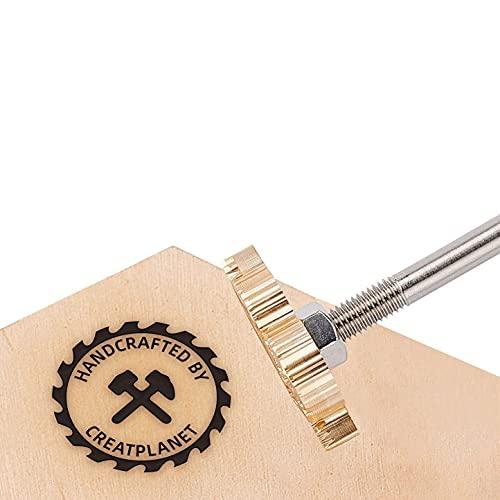CREATPLANET Hout Lederen Cake Branding Iron 1.2 Onregelmatige Branding Iron Stamp Custom Logo BBQ Heat Stamp met Messing Head en Hout Handvat voor Houtbewerking, Bakken en Handgemaakt Ontwerp - Hammer & Axe