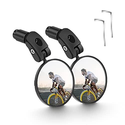 2pcs Espejo Retrovisor de Bicicleta, Espejos de Bicicleta Manillar 360 Grados Ajustable Espejo Convexo Espejo Retrovisor del Manillar para Mountain Road Bike, Bicicletas de montaña, Motocicletas