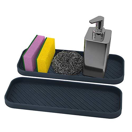 webake Juego de 2 Organizador de Cocina de Fregadero de Silicona Porta Esponja para Estropajos, Cepillos o Jabón (Negro)