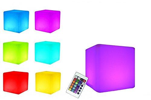 7even® LED Design Cube 40cm / LED Leucht Sitzwürfel/In und Outdoor/Akku und Fernbedienung (IR)