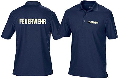Funktions-Poloshirt navy, FEUERWEHR fluoreszierende Schrift